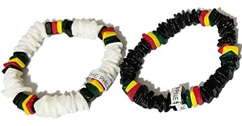 2pcs Men Women 7'' White Black Rasta Stripe Clam Puka Chip Shells Bracelet Tropical Handchain, Beach Bangle Hand Chain