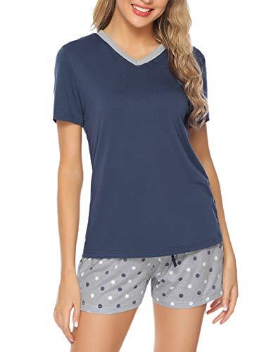 - Hawiton Women's Cotton Short Sleeve Pajamas Set Dot Pattern Sleepwear Lounge PJ Nightwear