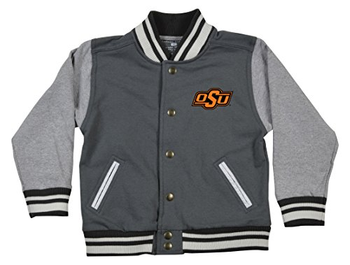 NCAA Oklahoma State Cowboys Children Unisex Toddler Letterman Jacket, 4 Toddler, Pewter/Oxford