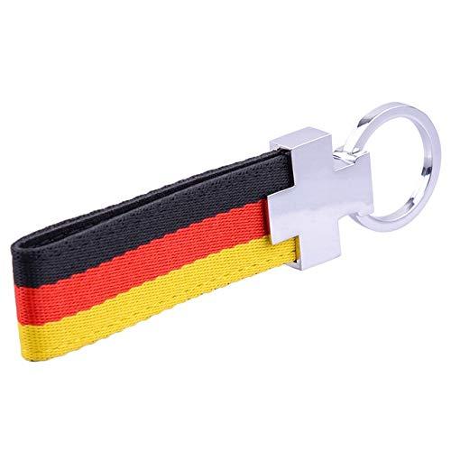 Llavero ELT a rayas para coche, correa de nailon, piel sintética, con diseño de bandera alemana, para VW Ford BMW Audi...
