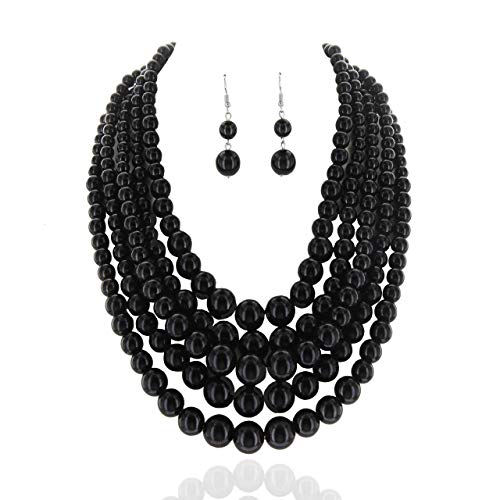 (SP Sophia Collection Women's Glossy Pearl Polished Crossover Necklace & Earrings Set in Black)