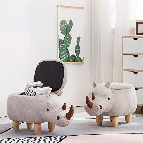 Creative Toy Storage Chest for Kids Children Living Room Upholstered Footstool with Solid Wood Leg Cute Animal Storage Ottoman Footrest Stool Rhinoceros,storage