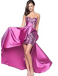 Azbro Women's Strapless High Low Sequin Prom Evening Bridesmaid Long Maxi Dress
