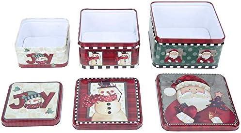3 piezas Christmas Iron Candy Cookie Can, Caja cuadrada Embalaje Caja de regalo de Navidad para galletas para hornear dulces (peque?a, mediana, grande)(Rojo): Amazon.es: Salud y cuidado personal