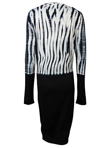 Calvin Klein Robe Pull Tie-teints Manches Longues Femmes Noir / Coquille D'oeuf