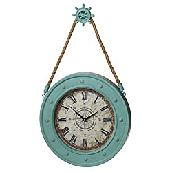 MIDWEST-CBK Large 15.5 Nautical Wall Clock with Ship Wheel Hanger