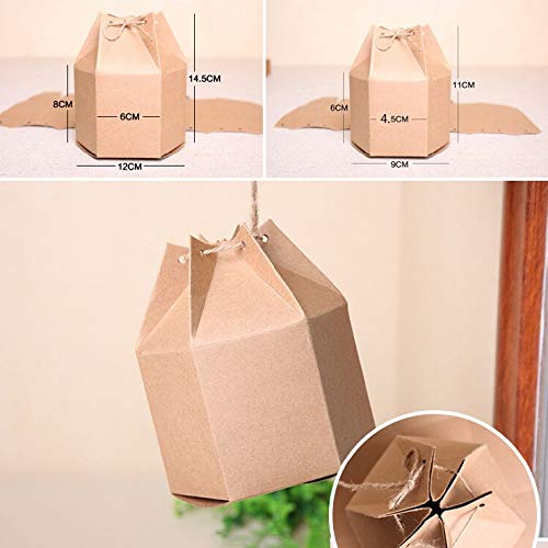 XLPD 30Pcs/Lot Kraft Paper Gift Box Packaging Paper Boxes for Wedding Favor Party Candy Boxes Handmade Lantern Craft Box Kraft Paper Color 9x11cm