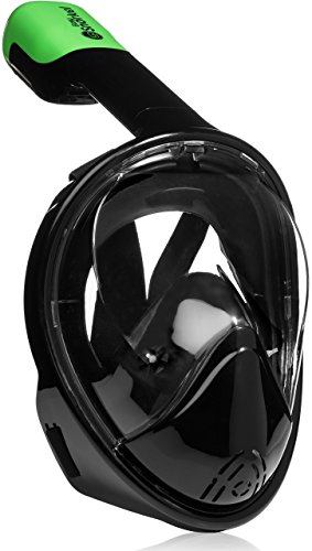 Easy Snorkel Full Face Snorkeling Mask - 180 Panoramic View for Increased Visibility, Tubeless Technology Snorkeling Gear Prevents Gag Reflex - (Black, S/M)