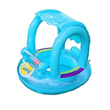 1 Pcs Kids Swimming Float Baby Swimming Ring Aids Infant Swimming Float Inflatable Baby Adjustable Sunshade Seat Boat Ring Swim Pool Beach Bath Toy,Blue for 6-48 months baby