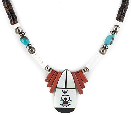 $350Tag Certified Silver Navajo Inlay Natural Graduated Turquoise MOP Red Native Necklace 15481-22 ()