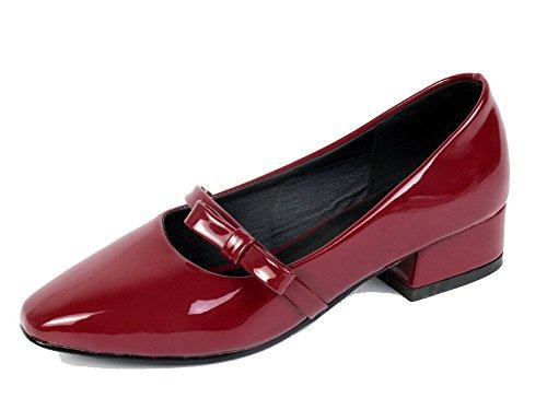 Souple Chaussures Femme Vineux Boucles Rouge Agoolar Légeres À Deux Matière Nœuds Tire 0Fwdq8P