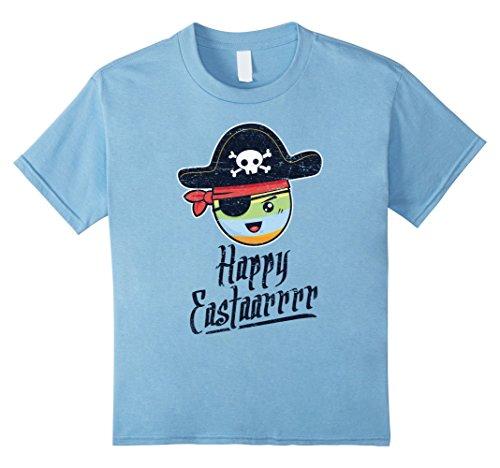 Kids Pirate Happy Easter Egg Hunt Funny Boys ARRR T-Shirt 10 Baby Blue (Cartoon Pirate Hat)