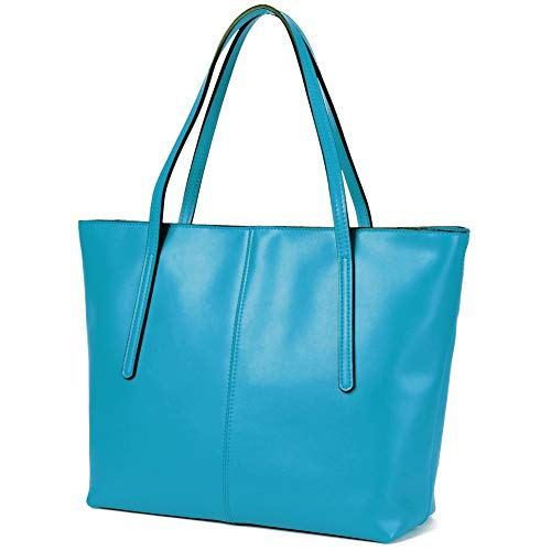 CHERRY CHICK Women's Genuine Leather Tote Bag Oversize Purse Ideal Gift (Matt Turquoise-2152) ()