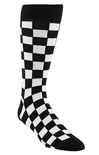 - Statement Sockwear Checkered Pattern Men's Socks (Black and White)