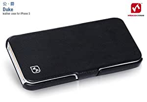 HOCO Duke iPhone 5S Genuine Leather Handmade Side Flip Case Wallet Cover - Black