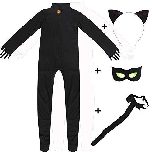 Adult Ladybug Black Cat Cosplay Jumpsuit with Eye Mask Tail Halloween Costume (L, Style 01) ()