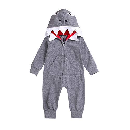 ZOELNIC Unisex Baby Autumn Winter Shark Hooded Sweatshirt Infant Boy Girl Hoodies with Kangaroo Muff Pockets& Shark Fin (Grey 2, 18-24 ()