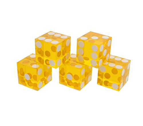 Get Out! Precision Casino Dice 6-Sided 19mm Game Playing Dice, Translucent Yellow, Set of 5 for Craps, DND D&D, RPG, D6