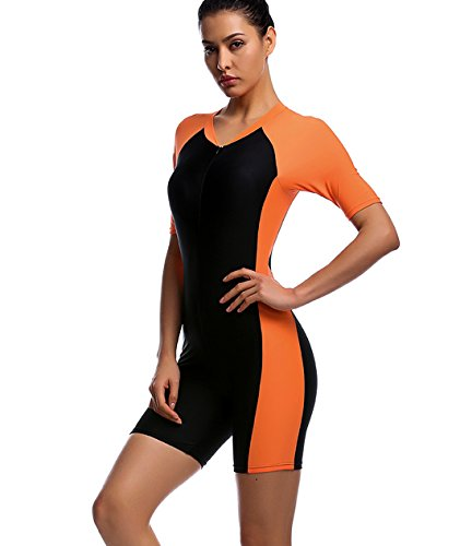 One Piece Swimsuit for Woman Belloo Orange Short-sleeve Surfing Suit Sun Protection,...