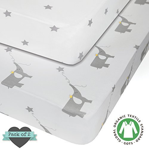Crib sheets - 100% ORGANIC JERSEY COTTON - 2pk Unisex - Best baby shower gift for boy or girl - by My Little North Star by My Little North Star