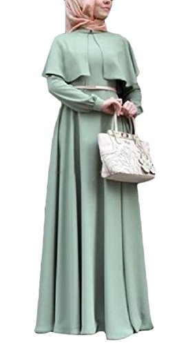Abetteric Women's Classics Poncho Plus Size Retro Wedding Long Dresses Light Green L