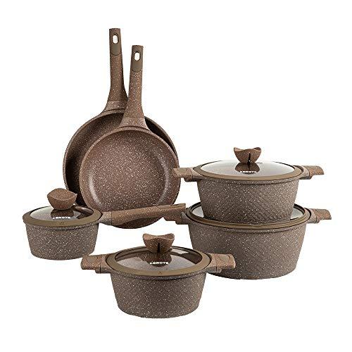 Carote Granit Nonstick Cookware Set,10 Pcs Nonstick Cookware Set Pans and Pots, Terra,Brown PFOA FREE (10-Pcs Cookware…