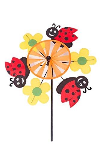 Bausatz für Windradmühle mit Marienkäfer und Blumen für den Garten und alle Altersgruppen