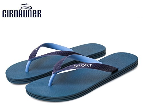 Cirohuner Hommes Tongs Sandales Plage Pantoufles T-bleu