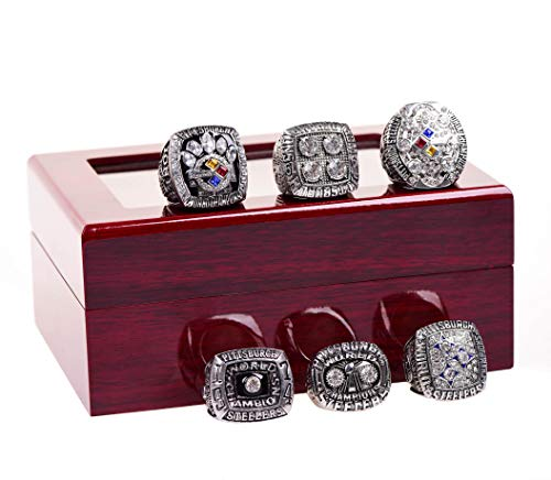 Pittsburgh Steelers Store (GF-sports store A Set of 6 Pittsburgh Steelers Super Bowl Championship Replica Ring by Display Box)