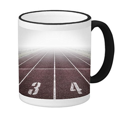 Track and Field Run Running Race 11 ounce Black Rim/Handle Ringer Ceramic Coffee Mug Tea Cup by Moonlight Printing