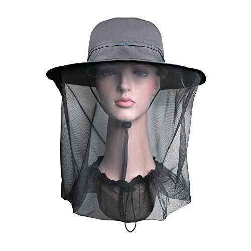 Lenikis Outdoor Sun Protection Hats with Mosquito Head Net Grey