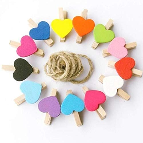 (Metal Clip Paper - 100 Pcs Mini Wooden Colorful Novelty Love Heart Pegs Photo Paper Clips Cute Prize Gifts Retail Stationery)