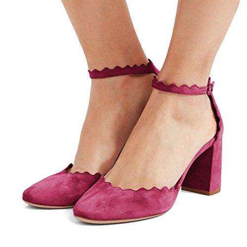 Fsj Mujer Cómodo Tobillo Correas Bombas Block Chunky Heels Round Toe Dorsay Zapatos Tamaño 4-15 Us Fucsia