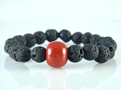 black-lava-stone-with-coral-red-tone-charm-round-beads-stretch-bracelet-7-medium-size