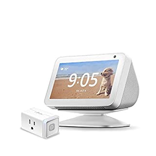 Echo Show 5 Sandstone with Adjustable Stand and TP-Link simple set up smart plug