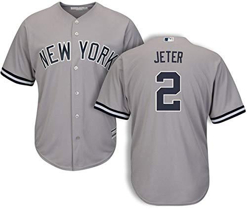 (Men's #2 Derek Jeter New York Yankees Road Jersey L Gray )