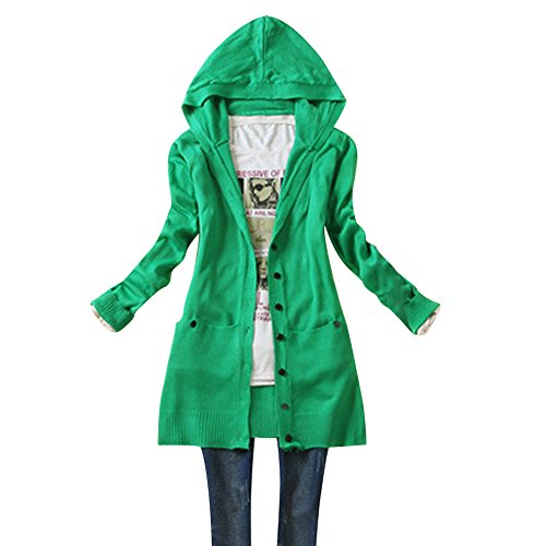 UEB レディース カーディガン カジュアル式 長袖 ニット コート ハット付き 秋物 フリーサイズ 5色 (グリーン)