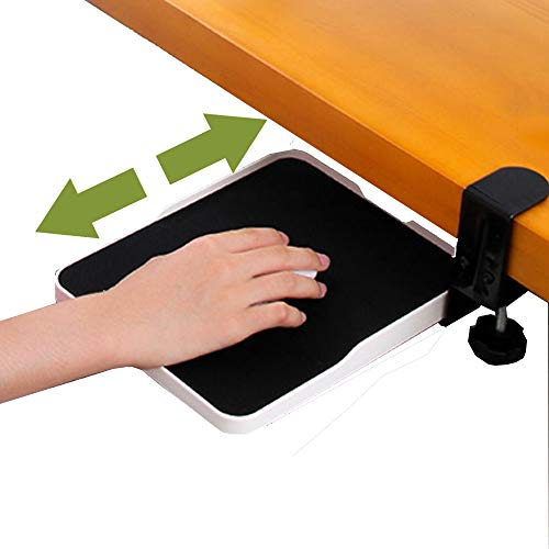Mouse Tray Clamp Under Desk Mouse Platform Clip on Mouse Pad Slide Out Ergonomic Mouse Tray Extender Sliding Pull Out