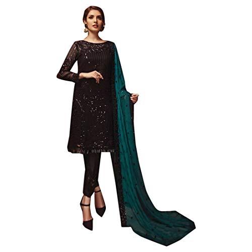 (Indian Ethnic Black Sequence Work Pakistani Salwar Kameez Muslim Suit Indian Ethnic 7423)