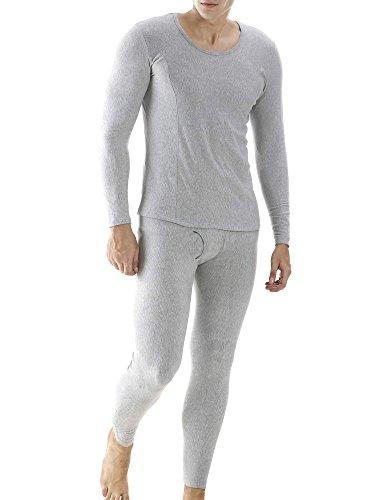 (Ekouaer Men's Thermal Wear Winter Long Johns Warm Pajama Set Plus Size(Gray,Large))