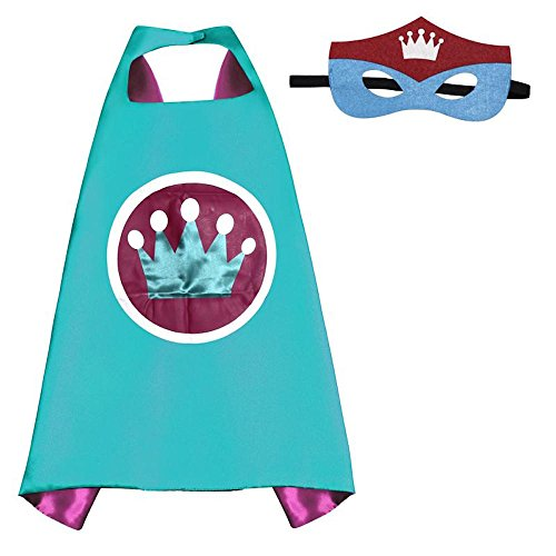 [Over 35+ Styles Superhero Halloween Party Cape and Mask Set for Kids (Echinodorus)] (China Costume For Girls)