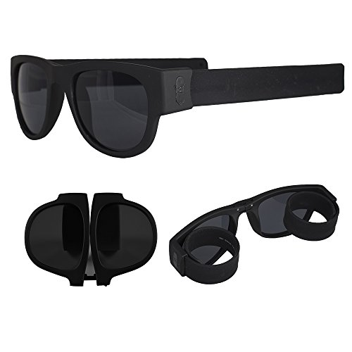 Foldable Sunglasses - Flexible Silicone Frame and Temples with Non-Polarized Lenses - Roll and Clip On Clothing, Bikes and More - Black - by - Foldable Wayfarer