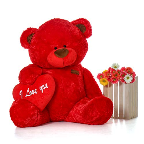 (Giant Teddy Original Brand - Biggest Collection of Super Soft Stuffed Teddy Bears (Pillow Heart Included) (Ruby Red, Life-Size))