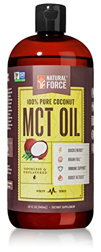 Coconut MCT Oil, Best for Brain Health and Weight Loss – C8, C10, & C12 MCT *High Octane Keto Fuel Made from Non-GMO Verified Organic Coconuts* Best Selling MCT Oil by Natural Force, 32 Ounce
