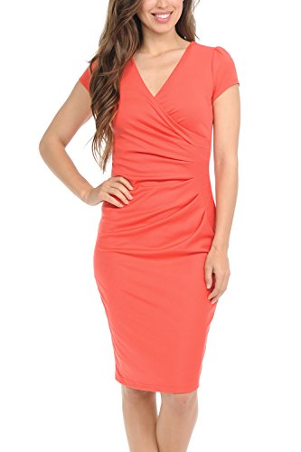 Auliné Collection Womens V-Neck Zip Up Work Office Career Side Wrap Sheath Dress Coral Medium