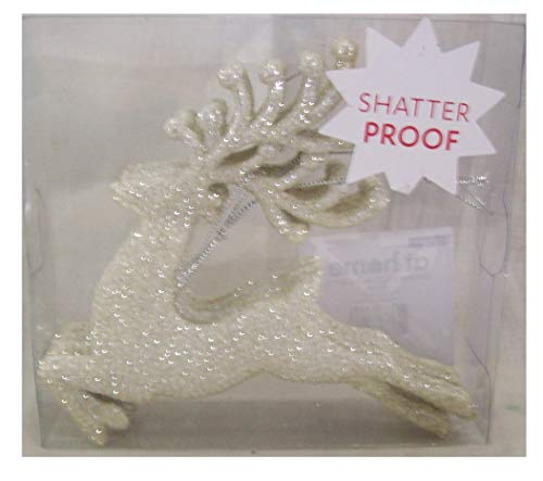 (At Home 8 Piece Shatterproof Reindeer Christmas Tree Ornaments White Glitter 5.25