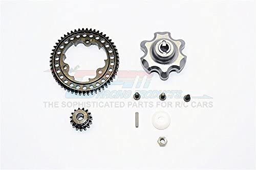 B01KLTBII2 Traxxas X-Maxx 4X4 Upgrade Parts Aluminum Gear Adapter+Steel Spur Gear 53T+Motor Gear 15T (for X-Maxx 6S Only) - 1 Set Gray Silver 41hwlhLiwbL