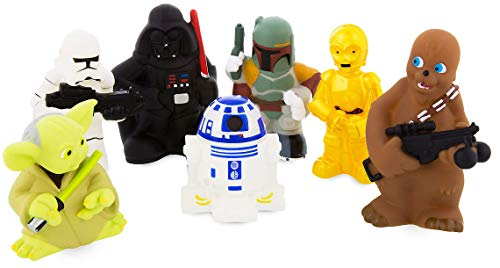 Star Wars Disney Parks Exclusive Set of 7 Character Squeeze Bath Tub Pool Toys]()