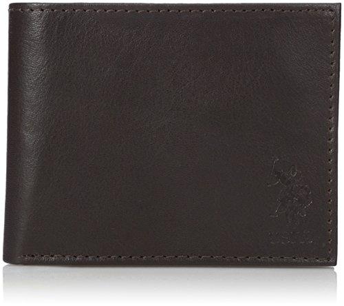 U.S. Polo Assn. Men's Genuine Leather Wallet, Slim Bifold, Clear Id Window