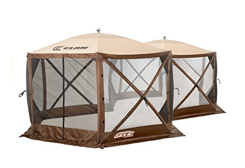 Quick Set 10731 Excursion Canopies, 140 x 140-Inch Portable Popup Gazebo Tent Rain Protection Easy Setup (6-8 Person), Brown